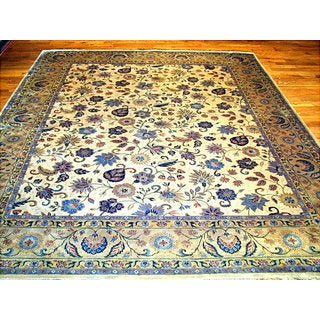 Pasargad Tabriz Hand-knotted Beige and Gold Wool Rug (10' x 14')