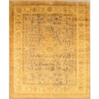 Pasargad Oushak Hand-knotted Beige and Gold Wool Rug (9' x 12')