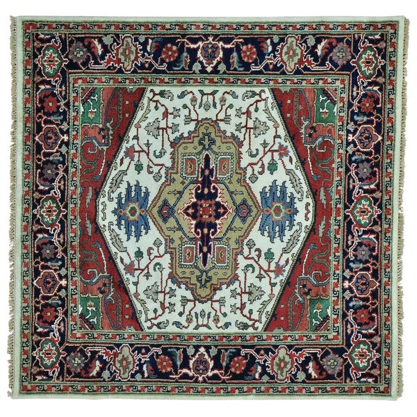 Serapi Heriz Square Pure Wool Hand Knotted Oriental Rug (5'10 x 5'10) 18152623