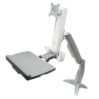 Dyconn Desk Mounted Work Station with Foldable Keyboard Tray with Independent Monitor Height Adjustm