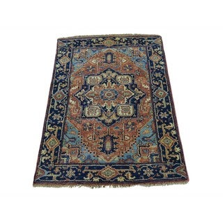 Pure Wool Hand Knotted Antiqued Heriz Revival Oriental Rug (2'1 x 3'2)