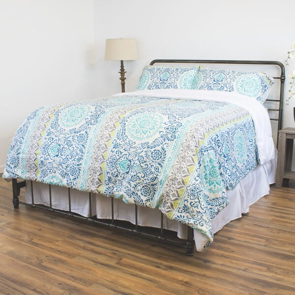 Anna Collection Down Alternative 3-piece Comforter Set with Bohemian and Floral Pattern 18152979