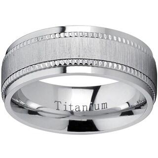 Oliveti Titanium Men's Comfort-fit Brushed Milgrain Wedding Band