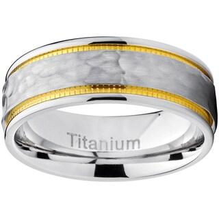 Oliveti Titanium Men's Comfort-fit Hammered Brushed Milgrain Ring