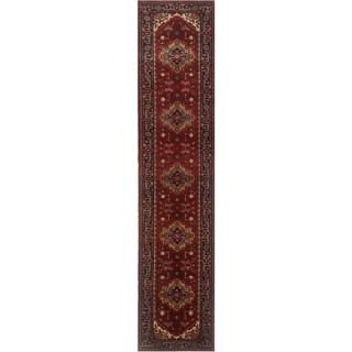Herat Oriental Indo Hand-knotted Serapi Red/ Navy Wool Runner (2'7 x 14'1)