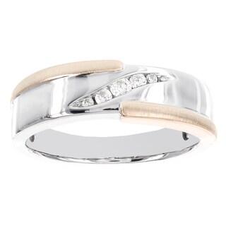 H Star 10k Two-tone Gold Men's 1/6ct TDW Diamond Ring (I-J, I2-I3)