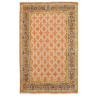 EORC Orange Hand Knotted Wool Kotan Rug (9' x 12')