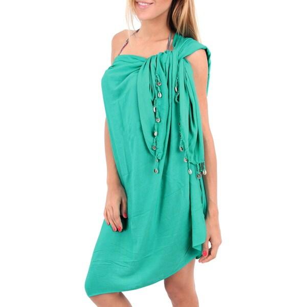 La Leela Smooth Rayon Coverup Sarong Hanging Shells Bikini Skirt 78X43Inch Green