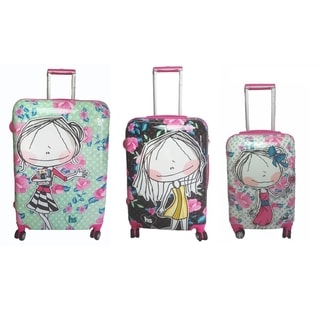 Hablando Sola Flowers 3-piece Hardside Spinner Luggage Set