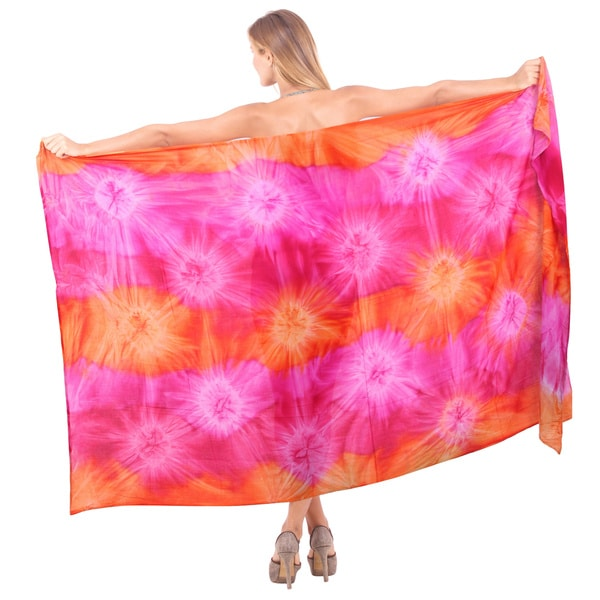 La Leela Smooth Rayon Hand Tie Dye Swirls Cover up Skirt 78X43 Inch Light Pink