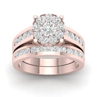 De Couer 10k Rose Gold 1 1/2ct TDW Diamond Cluster Engagement Ring Set with One Band (H-I, I2)