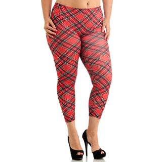 Plus Size Red Plaid Ankle Length Leggings