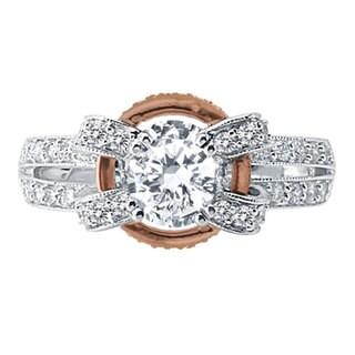 14k White Gold 5/8ct TDW Diamond Semi-mount and Cubic Zirconia Center Engagement Ring (F-G, VS1-VS2)