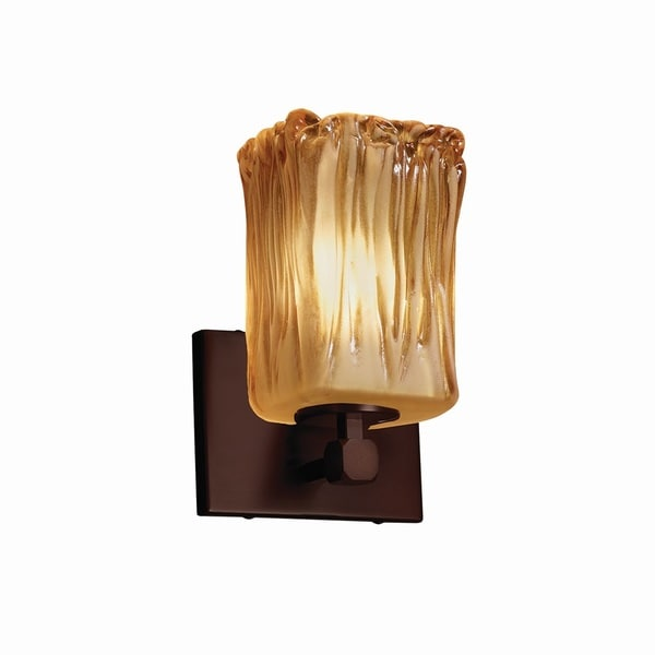 Justice Design Group Veneto Luce Tetra 1-light Dark Bronze Wall Sconce, Amber Square - Rippled Rim Shade 18154305