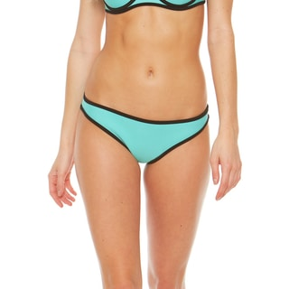 Bra Society Neoprene Bikini Bottom with Medium Coverage in Light Blue with Black Accents