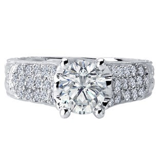 18k White Gold 3/8ct TDW Diamond and Cubic Zirconia Center Stone Engagement Ring (F-G, VS1-VS2)
