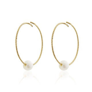 Pearlyta 14k Gold Children's Freshwater Pearl Sparkle Wire Hoop Earrings (5mm)