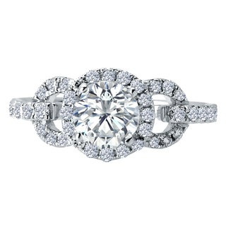 14k White Gold 1/2ct TDW Diamond and Cubic Zirconia Engagement Ring (F-G, VS1-VS2)