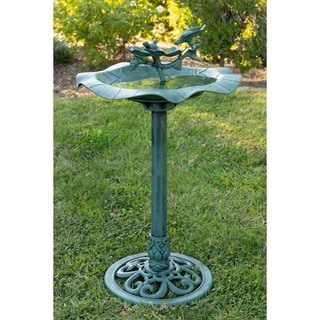 33-inch Lotus Birdbath with Birds