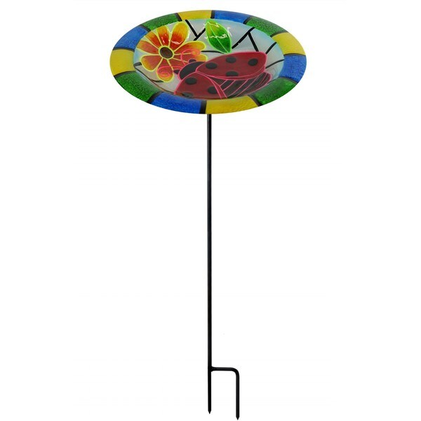 32-inch Glow In the Dark Ladybug Birdbath Garden Stake