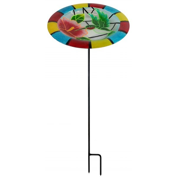 32-inch Glow In the Dark Hummingbird Birdbath Garden Stake