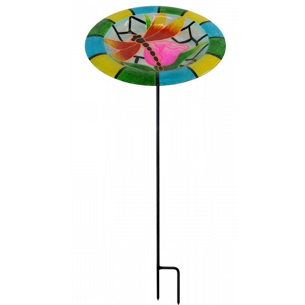 32-inch Glow In the Dark Dragonfly Birdbath Garden Stake