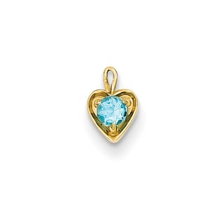 Versil 14k Yellow Gold December Birthstone Heart Charm