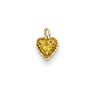 Versil 14k Yellow Gold November Birthstone Heart Charm