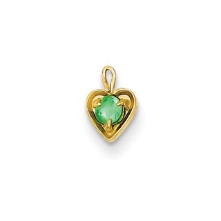 Versil 14k Yellow Gold May Birthstone Heart Charm