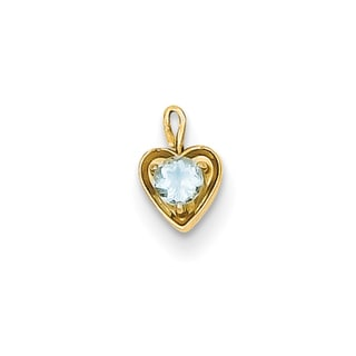 Versil 14k Yellow Gold March Birthstone Heart Charm
