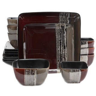 Gibson Elite Contempo Cove Red Double Bowl Dinnerware Set (16 Piece)