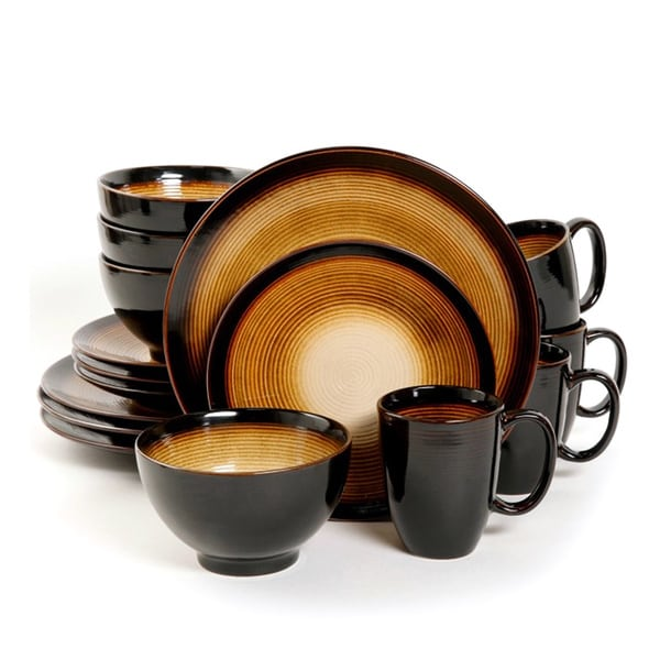 Gibson Elite Odelia Black and Gold Dinnerware Set (16 Piece) 18155127