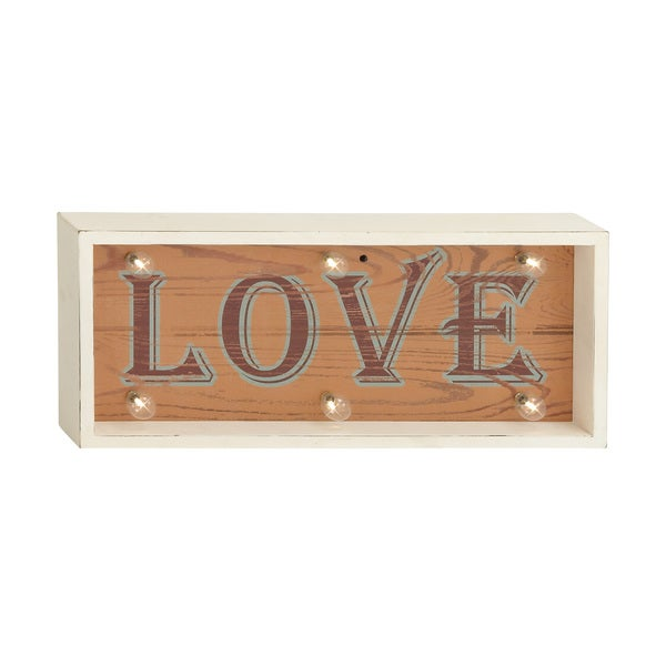 "LED Wood ""Love"" Wall Sign"
