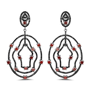 Olivia Sterling Silver Leone Genuine Garnet and Black Spinel Oval Earrings