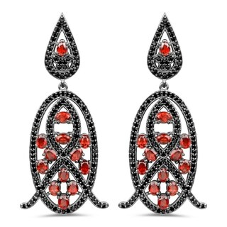 Olivia Leone Sterling Silver Genuine Red Garnet and Black Spinel Earrings