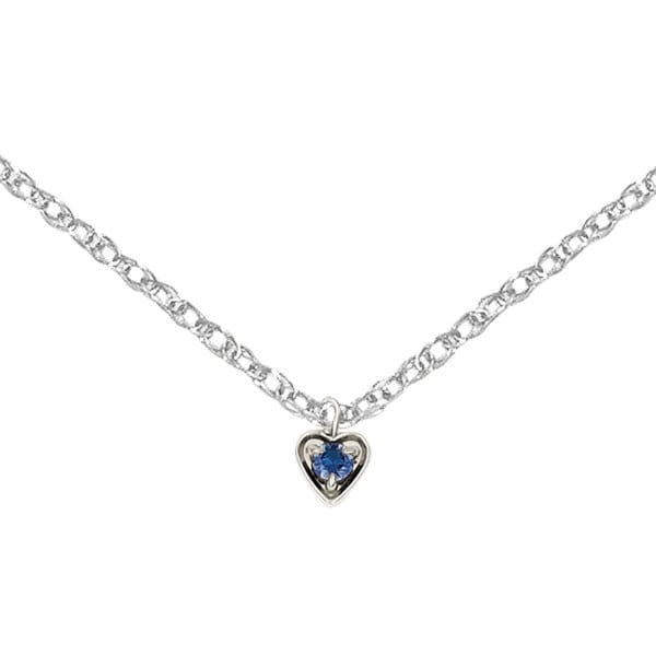 Versil 14k White Gold September Birthstone Heart Charm