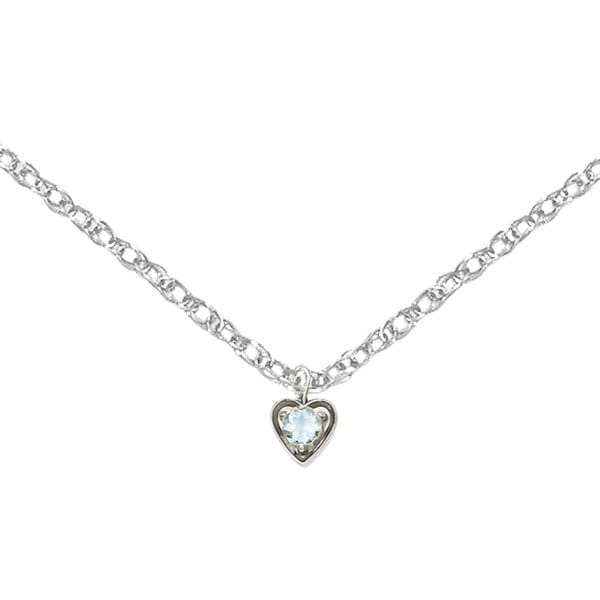 Versil 14k White Gold March Synthetic Birthstone Heart Charm