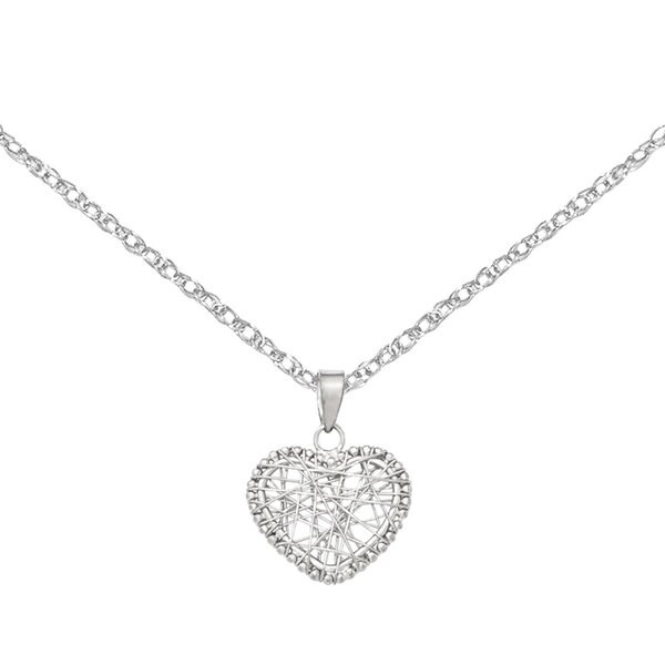 Versil 14k White Gold Open Wire Heart Pendant