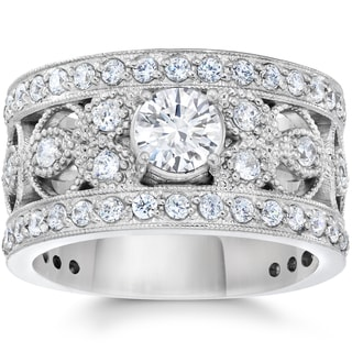 10K White Gold 1 5/8Ct TDW Diamond Vintage Antique Filigree Engagement Ring (I-J, I2-I3)