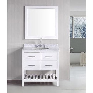 Belvedere 30-inch White Marble Bathroom Vanity with Mirror