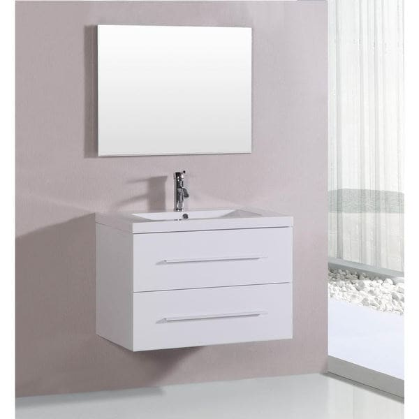 belvedere 32 inch contemporary white floating single vanity 18615683 shopping. Black Bedroom Furniture Sets. Home Design Ideas