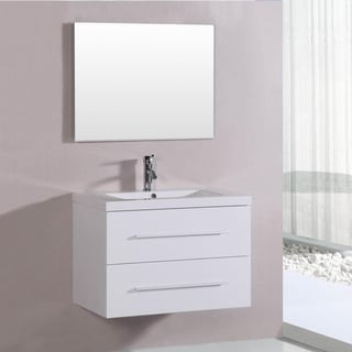Belvedere 32-inch Contemporary White Floating Single Vanity Set with Mirror