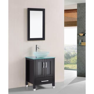 Belvedere 24-inch Espresso Tempered Glass Bathroom Vanity Set with Faucet, Mirror