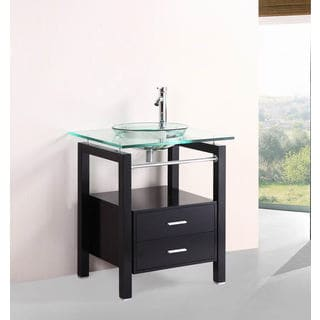 Belvedere 27-inch Glass Vessel Bathroom Vanity Set with Mirror