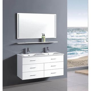 Belvedere 48-inch Contemporary White Wall Floating Bathroom Double Vanity with Mirror