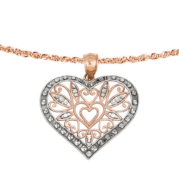 Versil 14k Rose Gold Rhod D-C Fancy Heart Pendant