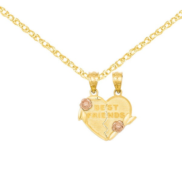Versil 14k Two-tone Gold Best Friends Break Apart Heart Pendant