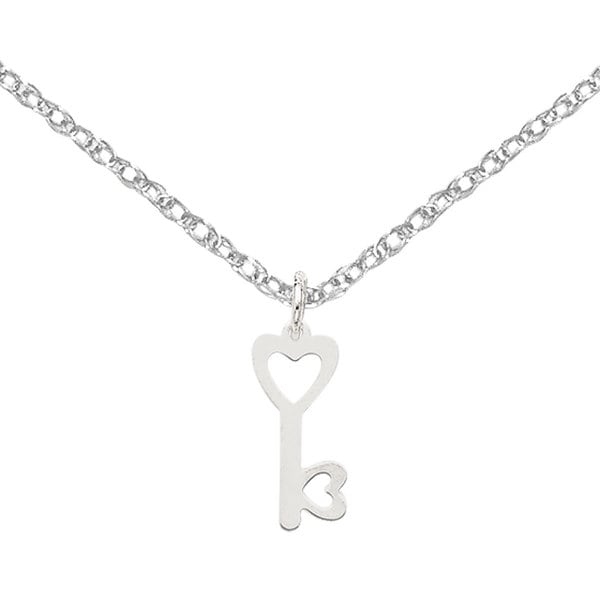 Versil 14k White Gold Heart-shaped Key and Lock Charm