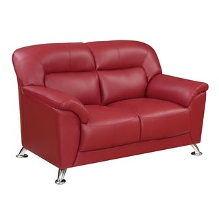 Global Funriture Red PU Leather Blanche Loveseat