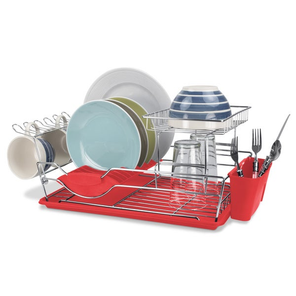 Home Basics Two Tier Dish Rack Drainer with Cutlery and Mug Holders 18156244